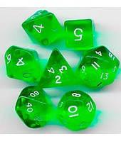 Набор кубиков Кристалл d00, d4, d6, d8, d10, d12, d20 (зелёный)  (Dice Set Translucent Green)