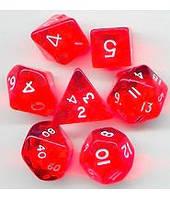 Набор кубиков Кристалл d00, d4, d6, d8, d10, d12, d20 (красный)  (Dice Set Translucent Red)