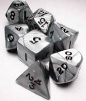 Набор кубиков Перламутр d00, d4, d6, d8, d10, d12, d20 (серебро)  (Dice Set Pearl Silver)