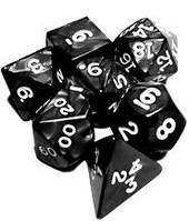 Набор кубиков Перламутр d00, d4, d6, d8, d10, d12, d20 (чёрный)  (Dice Set Black Pearl)