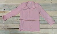 Модная рубашка персикового цвета с поясом на девочку рост 134 см