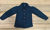 Модная легкая  синяя рубашка с зелеными сердечками  блуза на девочку на рост 110 см, 122 см