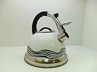 Металлический чайник для газовой плиты со свистком 3,2 л С термо-рисунком (1385)