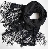 Женский шарфик с ажурным краем 200 на 85 dress РС3316_черн