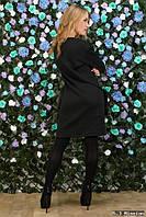 Черное платье-туника с маховыми карманами, размера 42-44, 46-48.