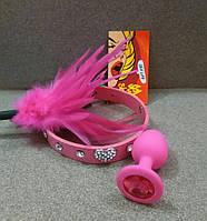 Ошейник БДСМ розовый со стразами с сердечком