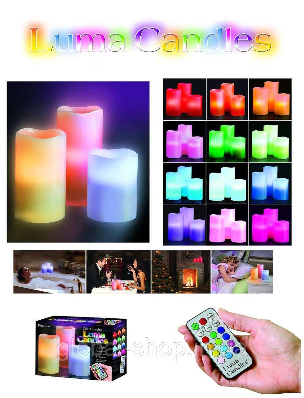 """Пластиковые Led Свечи """"Color Changing Luma Candles"""" с пультом на батарейках."""