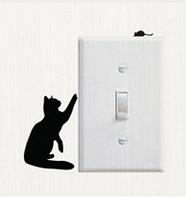 Интерьерная наклейка на стену.  Наклейка на выключатель кот