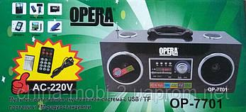 Акустика  Opera OP-7701, MP3 SD USB FM AUX, black, фото 3