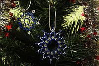 Снежинка на елку ручной работы из бисера и бусин (новогодняя игрушка, игрушка на елку)