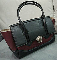 Женская модная сумочка Versace черная с бордовым Версаче