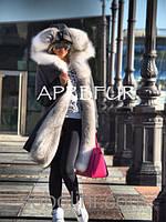 """Парка зимняя цвет графит с мехом полярной лисы""""Katie"""""""