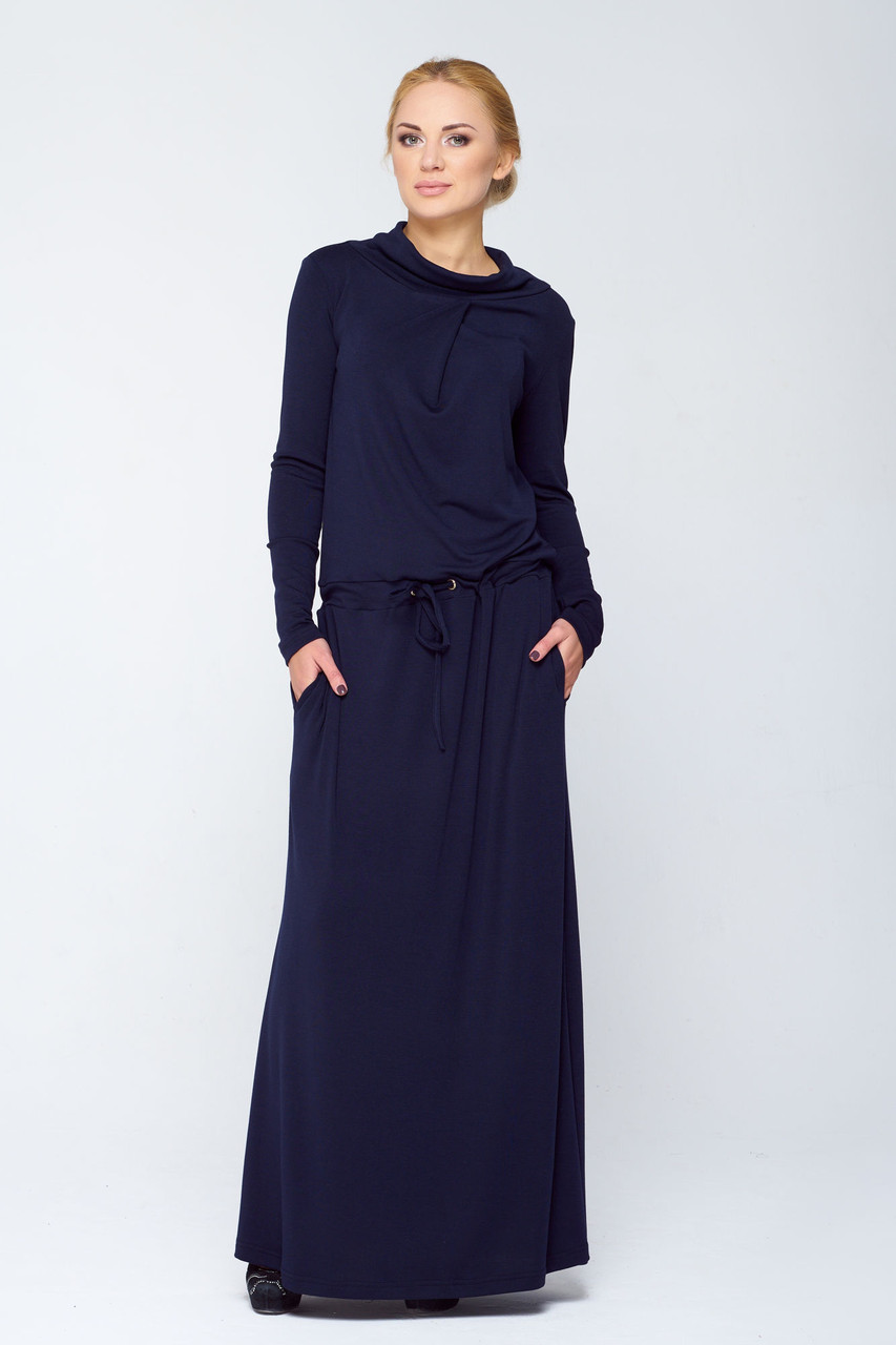 Синее платье приталенного силуэта Имма