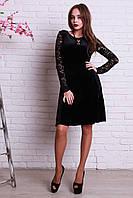Черное нарядное платье велюр