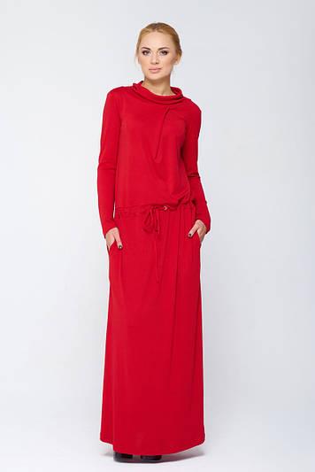 Длинное платье с карманами Имма красное