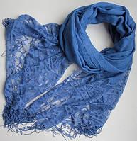 Женский шарфик с ажурным краем 200 на 85 dress РС3316_васильк