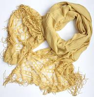 Женский шарфик с ажурным краем 200 на 85 dress РС3316_горчич