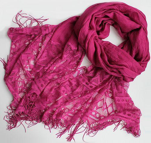 Жіночий шарфик з ажурним краєм 200 на 85 dress РС3316_фуксия