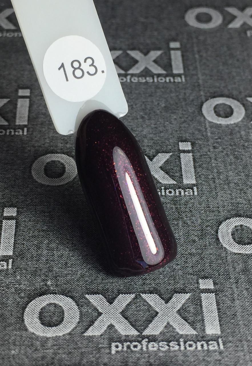 Гель-лак OXXI №183, темный вишневый с шиммером, 8 мл