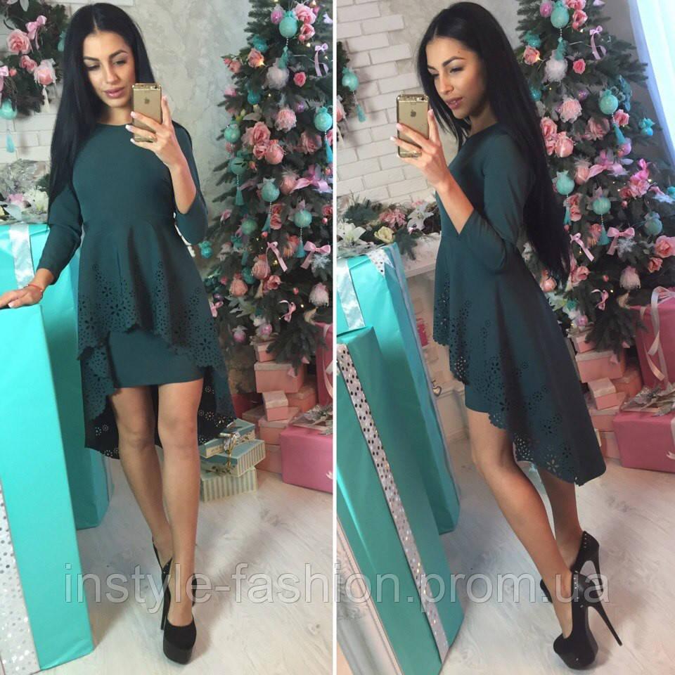 084977eff02c Красивое платье с хвостом ткань креп-костюмка цвет зеленый  купить ...