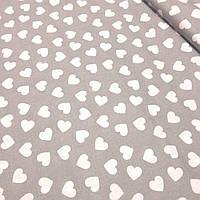 Хлопковая ткань, бязь с белыми сердцами а сером фоне №397