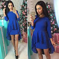 Красивое платье с хвостом ткань креп-костюмка цвет синий