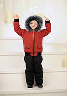 """Детский зимний костюм """"Аляска"""" 4026 / темно-вишневый+черный"""