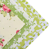 Ткань для пэчворка набор 5 шт Нежность (зеленый)