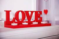 "Слово ""Love"" из дерева на подставке"
