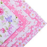 Ткань для пэчворка набор 5 шт Цветочный (розовый)