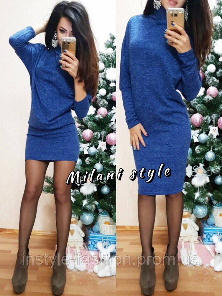 Платье летучая мышь ткань ангора цвет синий