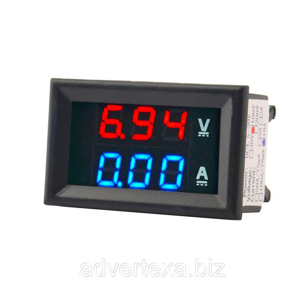 Вольтметр - амперметр DC 100 В 10A синий и красный светодиодный