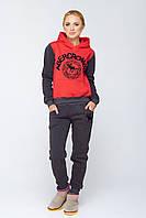 Теплый женский спортивный костюм Кантара красный