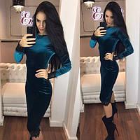 adca6aa597e Платье женское длинное бархатное с кружевом P4872