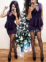 Женское короткое платье баска ткань дайвинг+ сетка цвет сиреневый