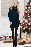 Теплая туника-свитер синего цвета с поясом, размер 44-46-48.
