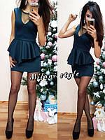 Женское короткое платье баска ткань дайвинг+ сетка цвет черный