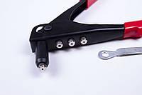 Заклёпочник ручной, пистолет, литой корпус, 4 сменных насадки, фото 1