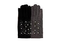 Качественные женские трикотажные перчатки декорированные стразами