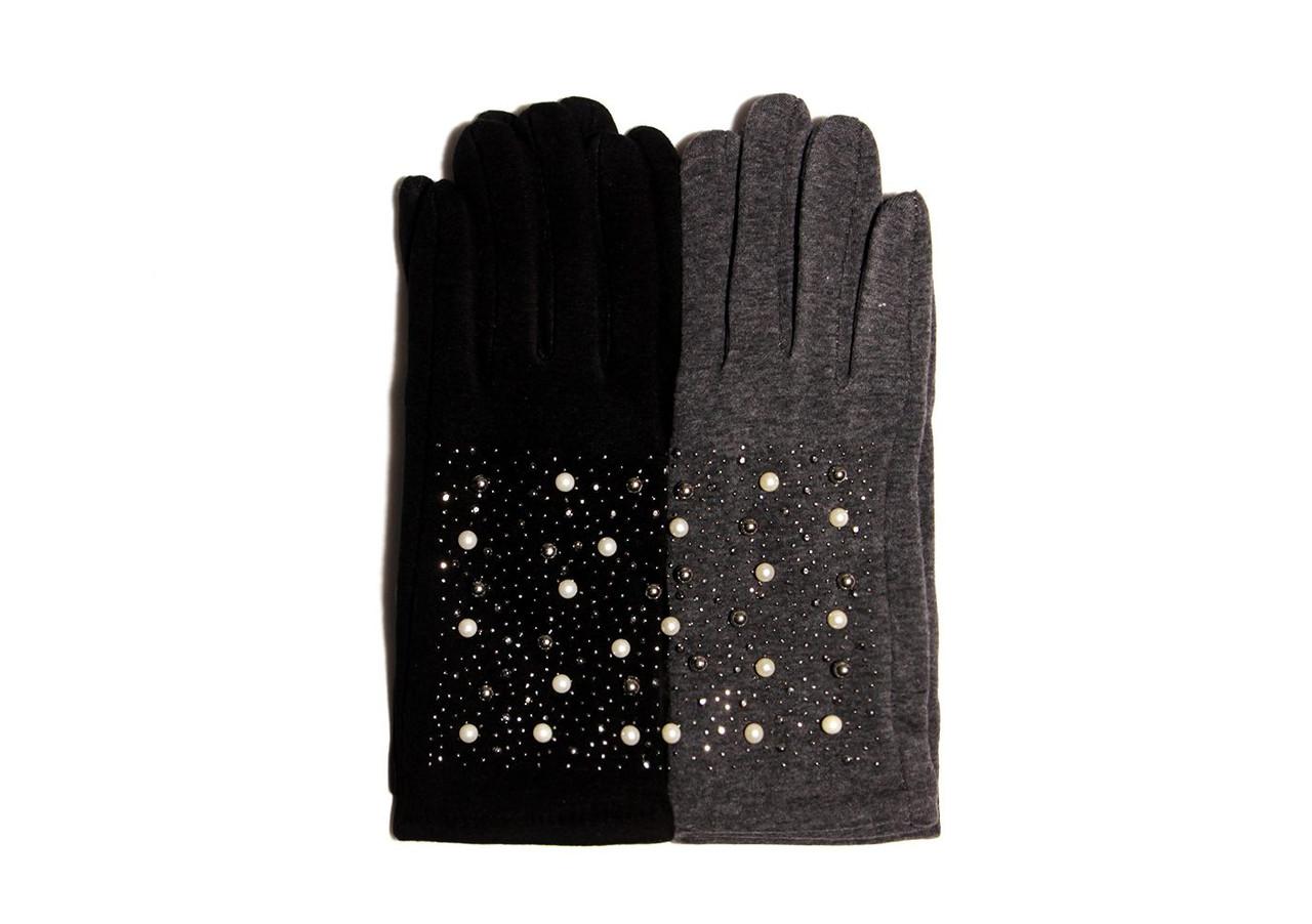 Якісні жіночі трикотажні рукавички декоровані стразами