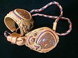Набор браслет и кулон с яшмой. Натуральная кожа., фото 2