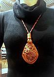 Набор браслет и кулон с яшмой. Натуральная кожа., фото 4