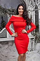 Женское ангоровое платье с открытыми плечами красное