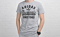 Мужская футболка с принтом адидас (Adidas Originals), серая