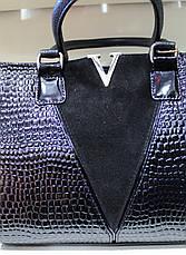 Сумка женская классическая каркасная замша+лакированная экко кожа  V 17-4116-3, фото 2