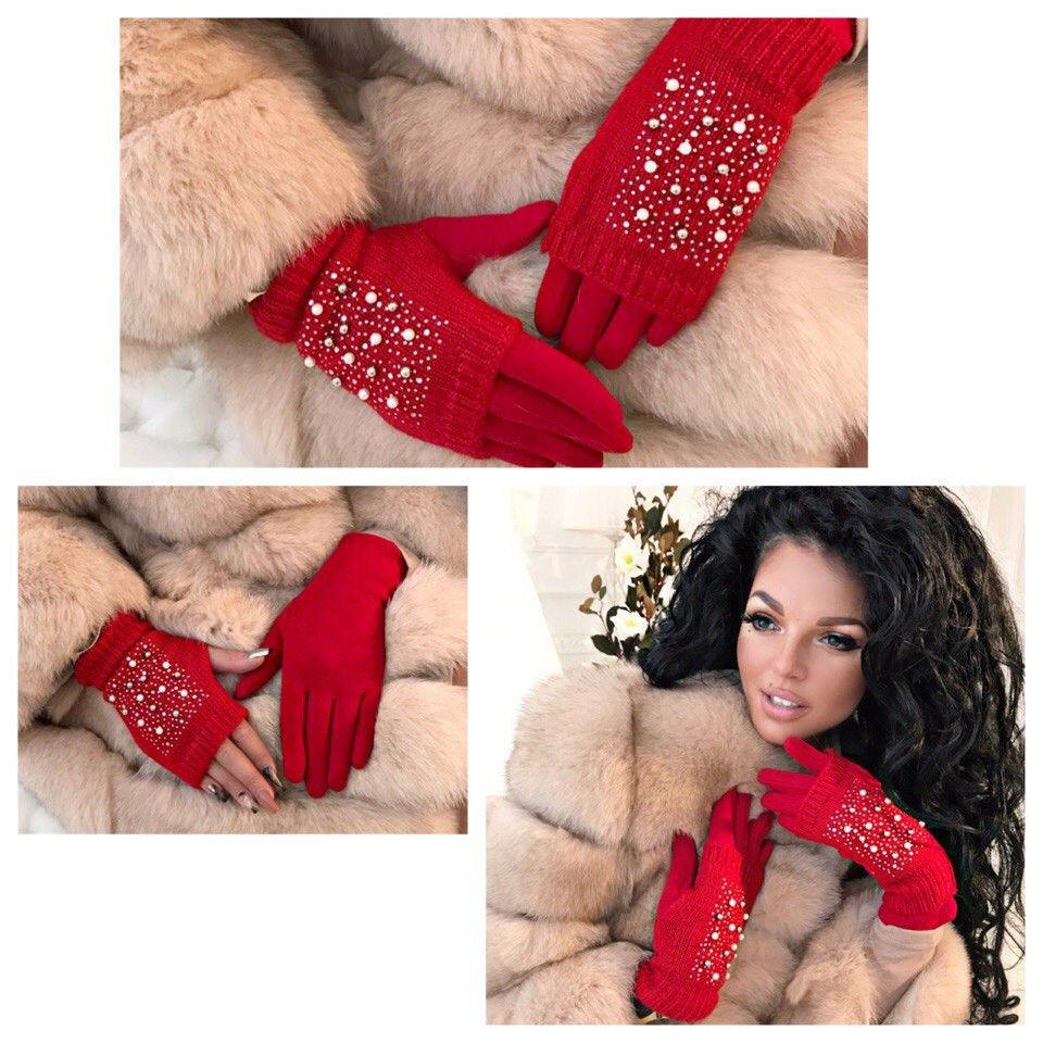 Зимові рукавички з мітенками які можна носити окремо, з декором