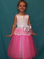Детское платье с пышным бантом , кружевом и жемчугом