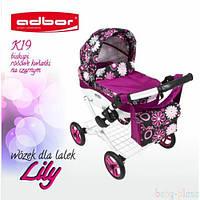 Коляска для кукол Adbor Lily K-19 розовые цветы на черном