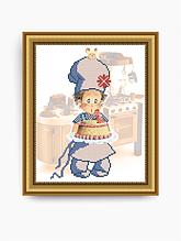 Авторская канва для вышивки бисером «Поваренок с тортиком»