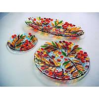 Оригинальный авторский набор посуды из стекла Рябина